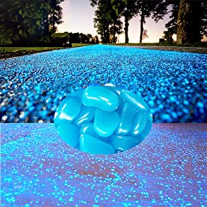 WenErJie Glow in The Dark Rocks, 200PCS Fairy Garden Decorations Stones, Outdoor Decor for Patio Stepping Stone Kit, Pebbles for Plants/Yard/Backyard/Fish Tank/Pool Stuff,Blue