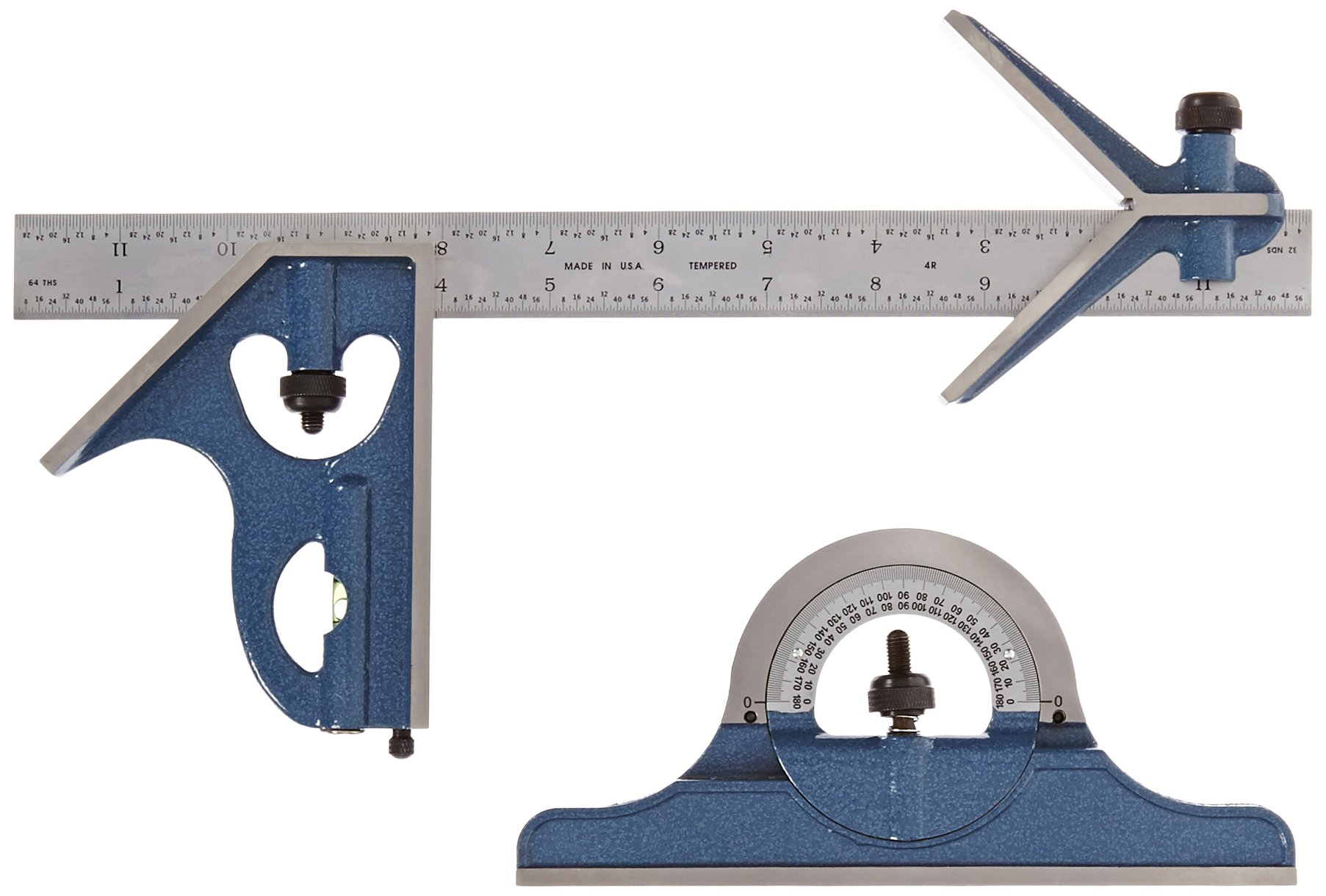 Fowler 52-385-012 Steel Combination Square Set Includes with Baked Blue Enamel Finish, 4R Graduation Interval, 12'' Length