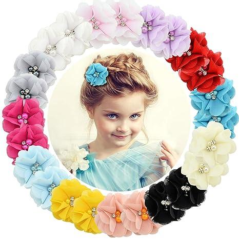 20 Colors Kid Baby Girls Headwear Flower Pearl Headband Hair Bow Lot
