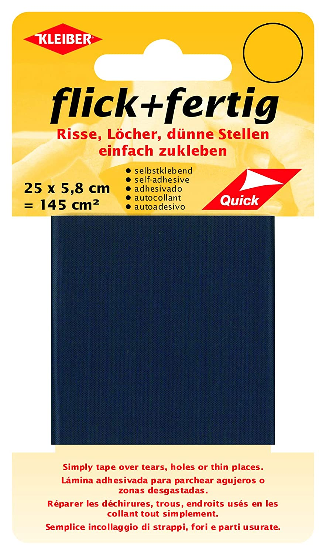 Kleiber 145 cm² Flick Plus Fertig-Cinta autoadhesiva de reparación de nailon, color negro