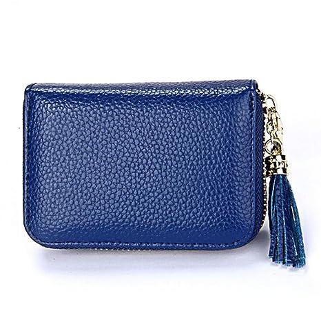 DcSpring RFID Cartera Tarjeteros Mini Cuero Genuino Monedero Pequeñas Portatarjetas Cremallera para Mujer Hombre (Azul