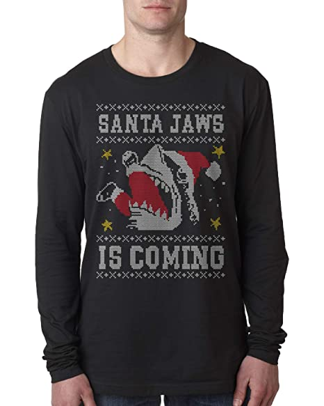 Santa Jaws is Coming Ugly Christmas Men s Long Sleeve T-Shirt Small Black a5ccacc2de47