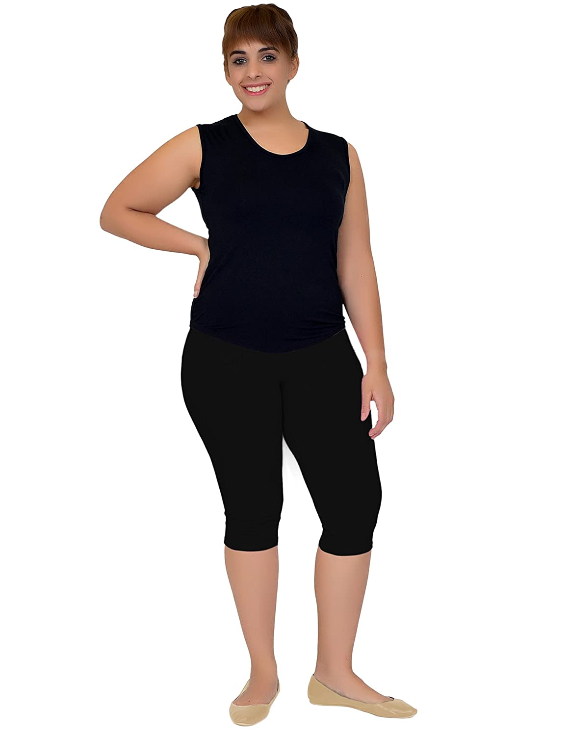 a8a46cb4ea Stretch is Comfort Women's Plus Size Knee Length Leggings at Amazon Women's  Clothing store:
