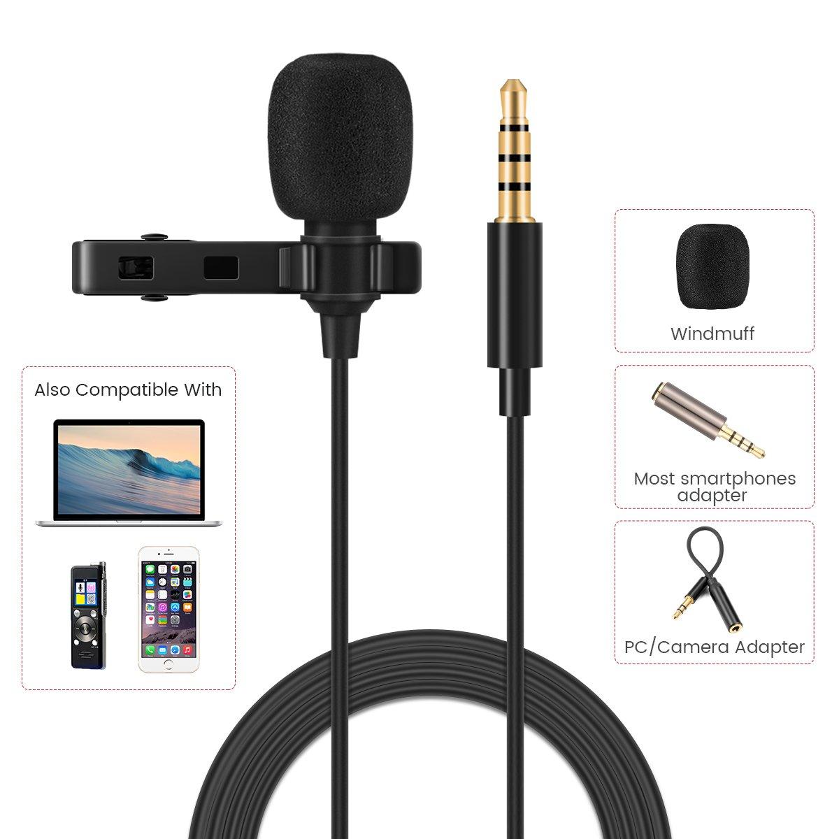 EIVOTOR, Micrófono de Solapa Omnidireccional Micrófono Lavalier de 1,5 m con Clip Mini Micrófono de Condensador para Smartphone IPhone Portátil MacBook IPad ...