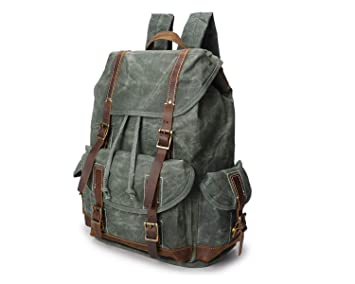 255e73da9972 Image Unavailable. Image not available for. Colour  Canvas Backpack Crazy  Horse Leather Men s Bag Oil Wax Canvas Bag Men s Backpack Retro Waterproof  Travel