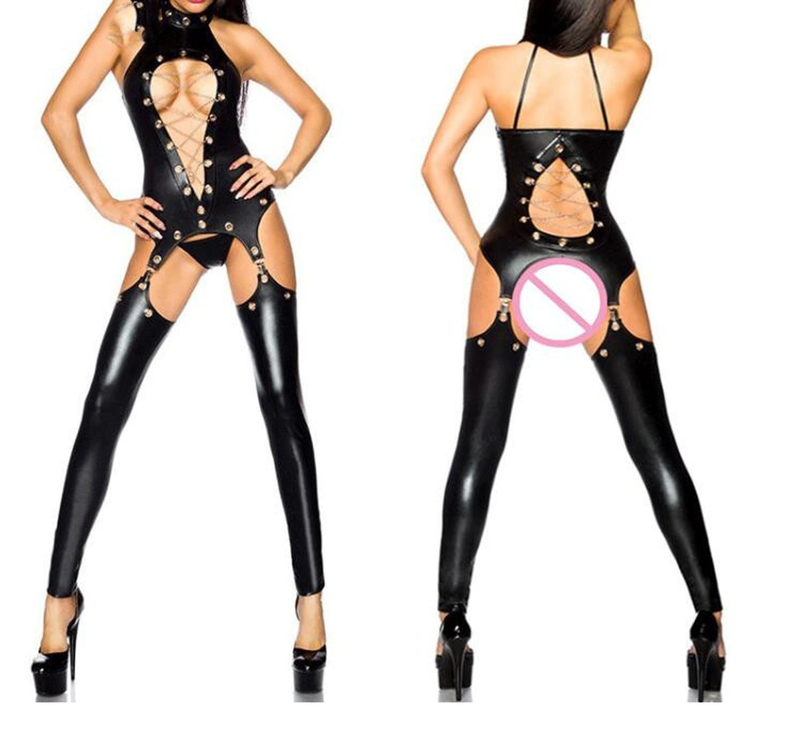 Witch-House 2018 M-3XL Women Sexy Lingerie Faux Leather Costumes Sex Erotic Sexy Underwear with Gather Teddies,Black,L