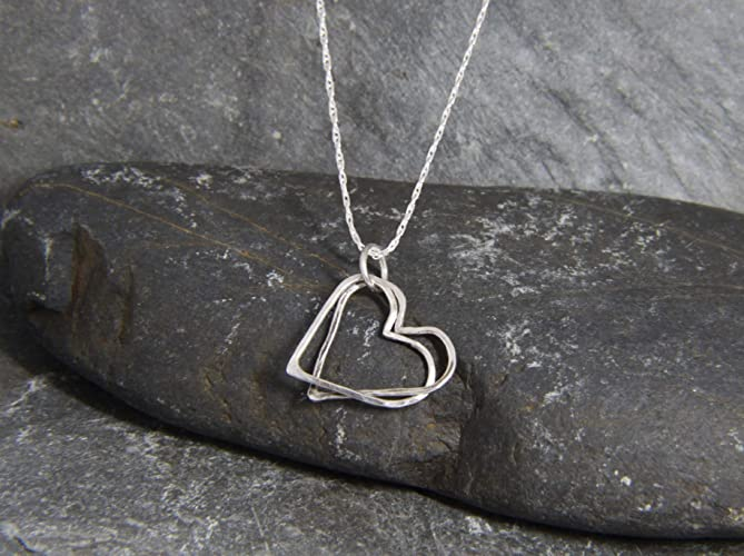 51420302e3 Sterling Silver Heart necklace - floating entwined heart pendant - love  necklace - hammered heart - hand made in Cornwall - Genuine Real Silver -  Valentine ...