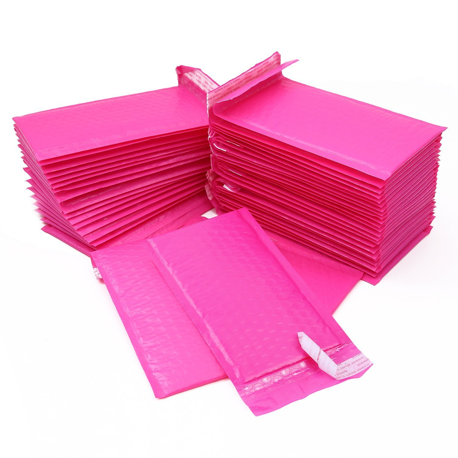 Pink Bubble Poly Mailers, Ohuhu 4x8 50-Pack Hot Pink Bubble Padded Poly Mailer Shipping Envelope Bags with Self Adhesive Strip, Water Resistant