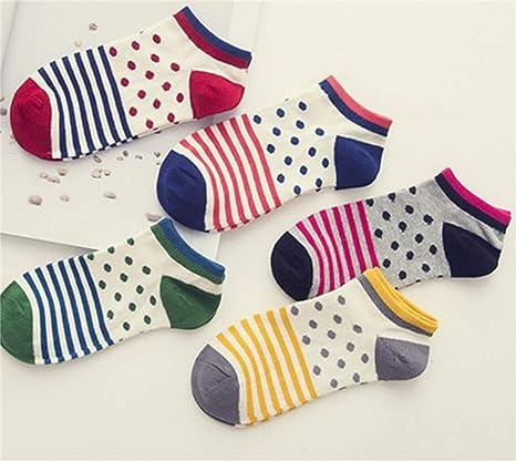 NaXinF Calcetines de Tejer Calcetines de algodón de Las Mujeres puntean los Calcetines del Tobillo de