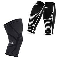 Mava Sports Knee Compression Sleeve Support with Mava Sports Calf Sleeve Compression...