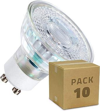 LEDKIA LIGHTING Pack Lámparas LED GU10 SMD Cristal 38º 5W (10 un) Blanco Cálido 3000K: Amazon.es: Iluminación