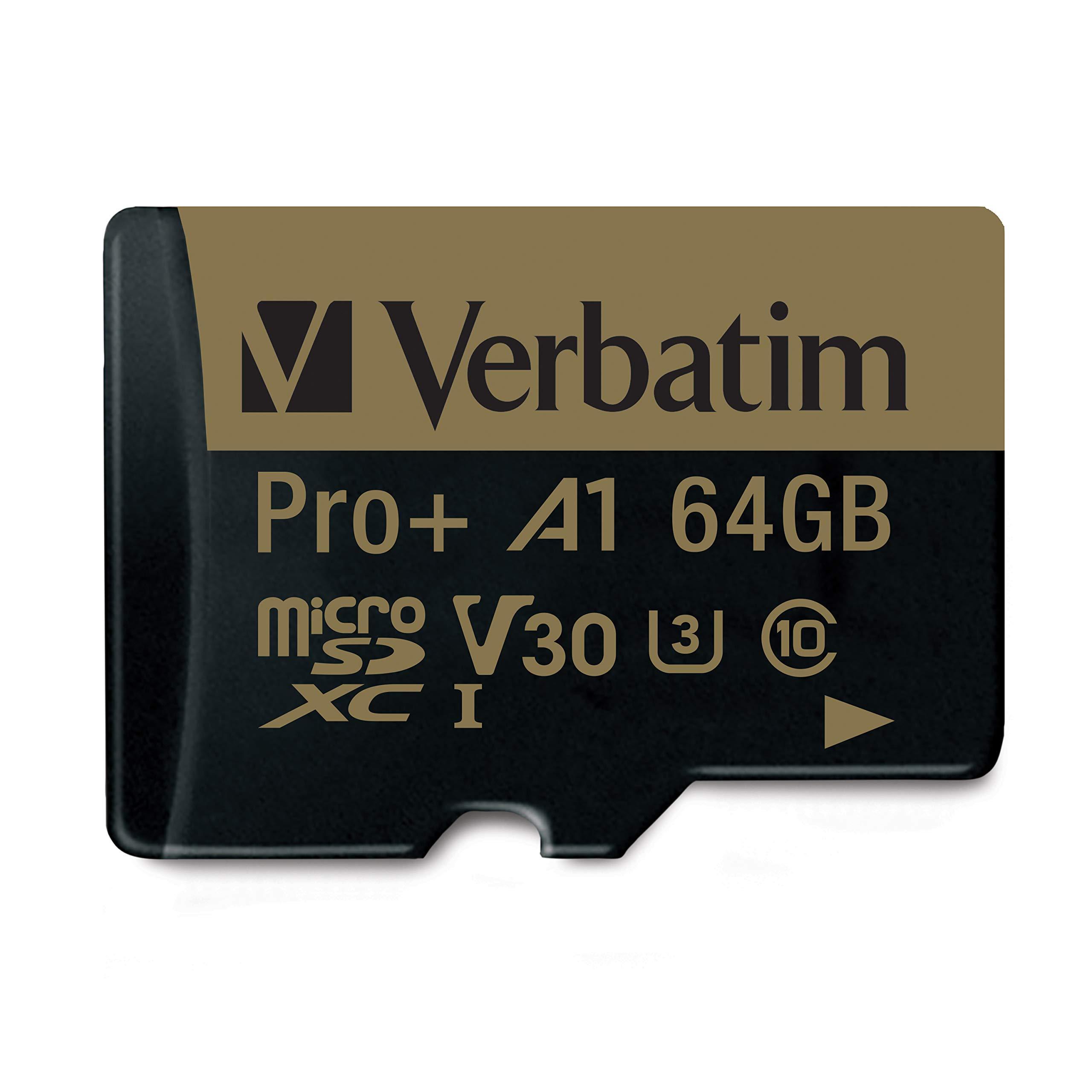 Verbatim 64GB Pro Plus 666X microSDXC Memory Card with...