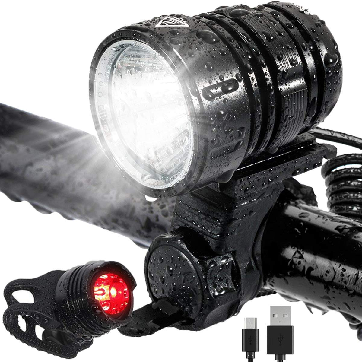 5 Modos Iluminaci/ón Luces Bicicleta LED Luz Bicicleta Impermeable,Luz de Bici Recargable USB Al Aire Libre Luces Bici Delantera and LED Luces Trasera Kit,1200 L/úmenes S/úper Potente L/ámpara
