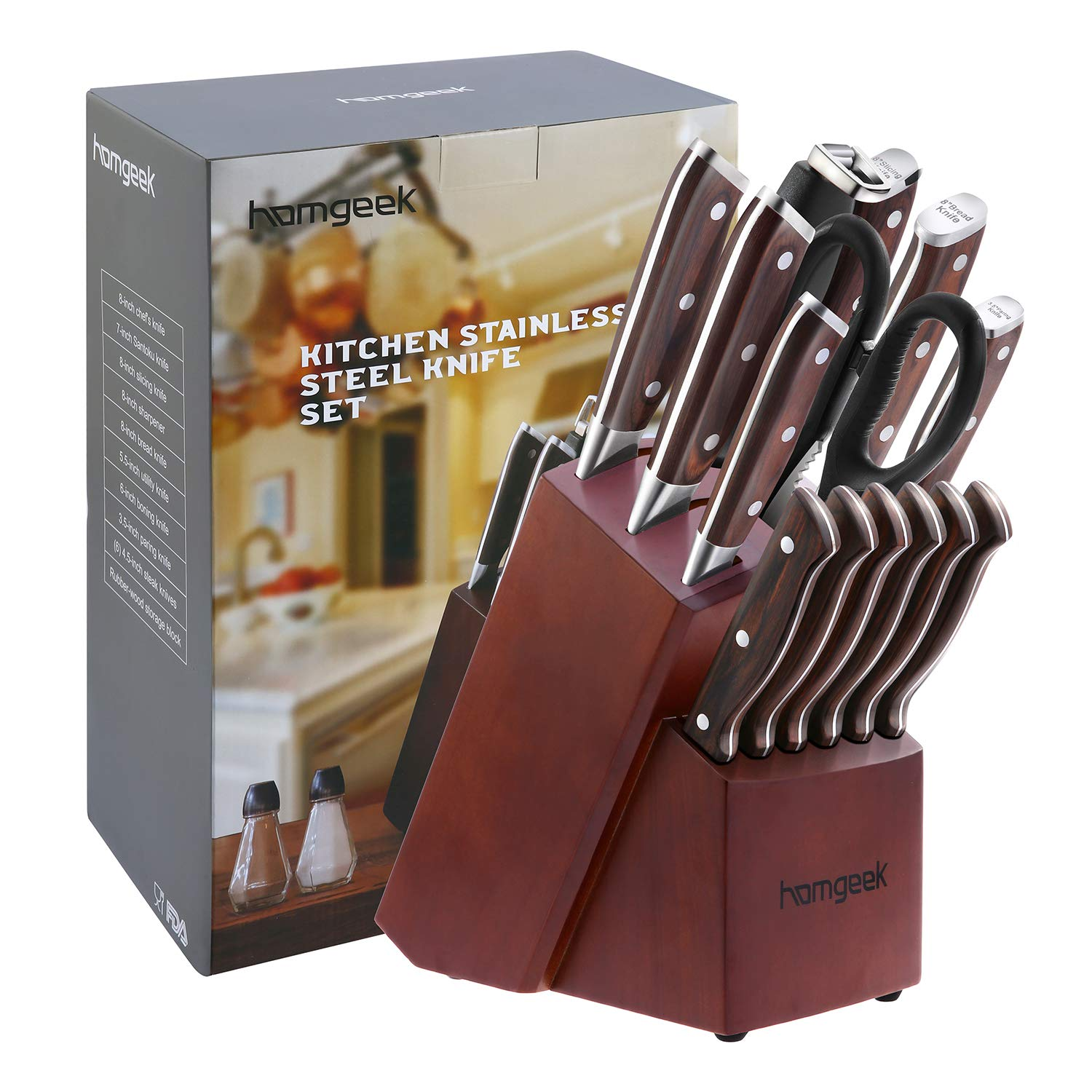 Chef Knife Set,15 Piece Knife set With Wooden Block,Wood Handle and German 1.4116 Stainless Steel,Full-Tang by homgeek (Image #9)