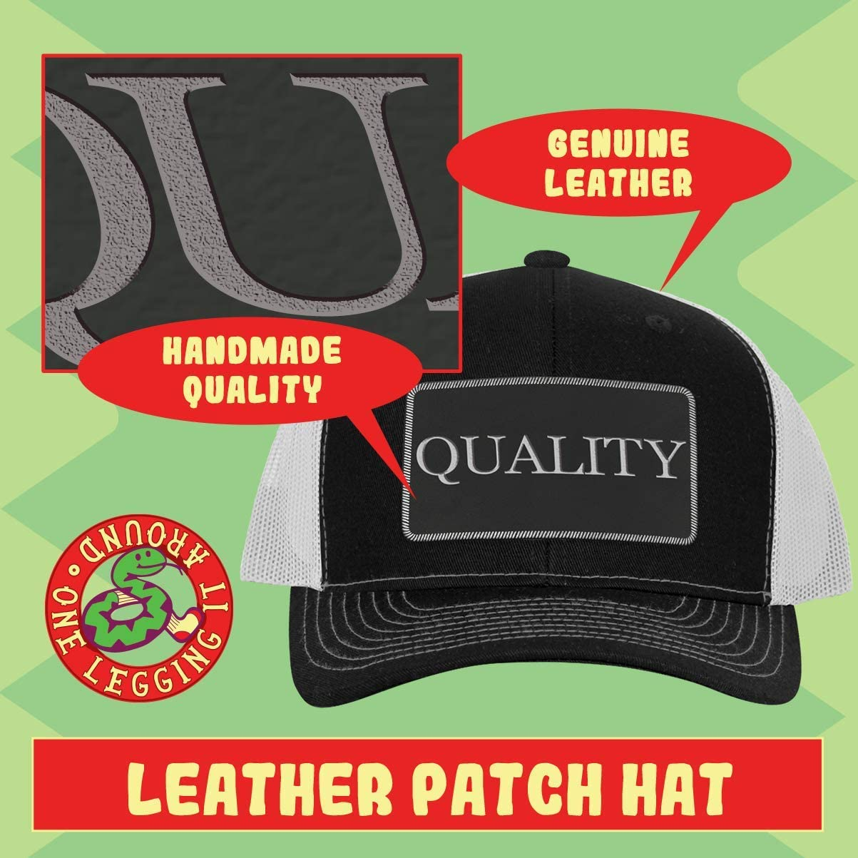 One Legging it Around got Arak - Leather Black Metallic Patch Engraved Trucker Hat 61HI-Hy61vL
