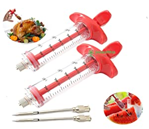 JOYOUSNESS (2 packs)meat injector syringe the secret to making tender and juicy perfect for beginner plastic marinade syringe kitchen, cooking, baking, outdoor bbq, roast grill accessories flavoring t