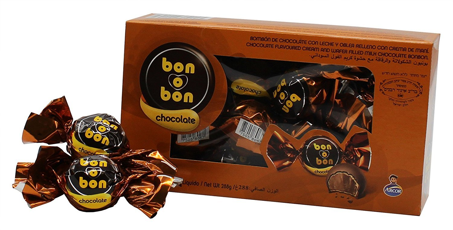 Amazon.com : Arcor Bon O Bon Peanut Cream and Chcolate Wafer Filled Bonbons Gift Box Kosher Dairy - Pack of 18 (Chocolate Flavor) - 288g : Grocery & Gourmet ...
