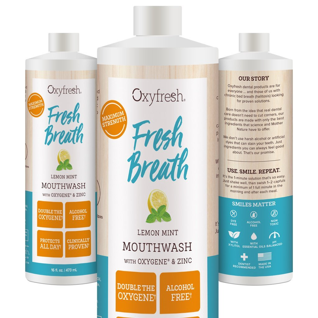 Oxyfresh Lemon Mint Mouthwash with Oxygene & Zinc – Alcohol Free Solution for Long-Lasting Fresh Breath and Dry Mouth Prevention. Dye-Free, Gluten Free, Naturally Flavored with Essential Oils.