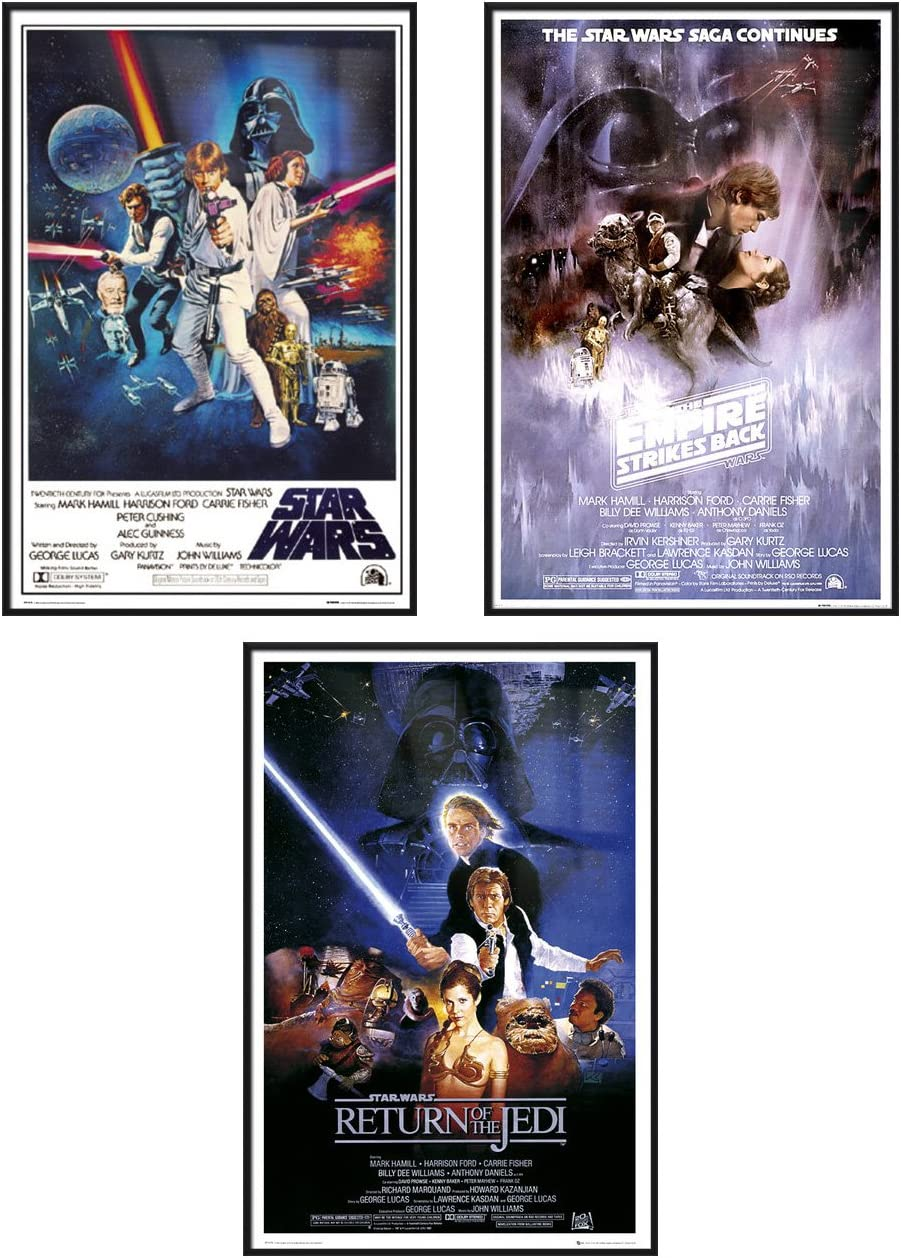 Star Wars Episode IV, V & VI - Framed 3 Piece Movie Poster/Print Set (3 Regular Style Posters) (Size: 24 inches x 36 inches Each)