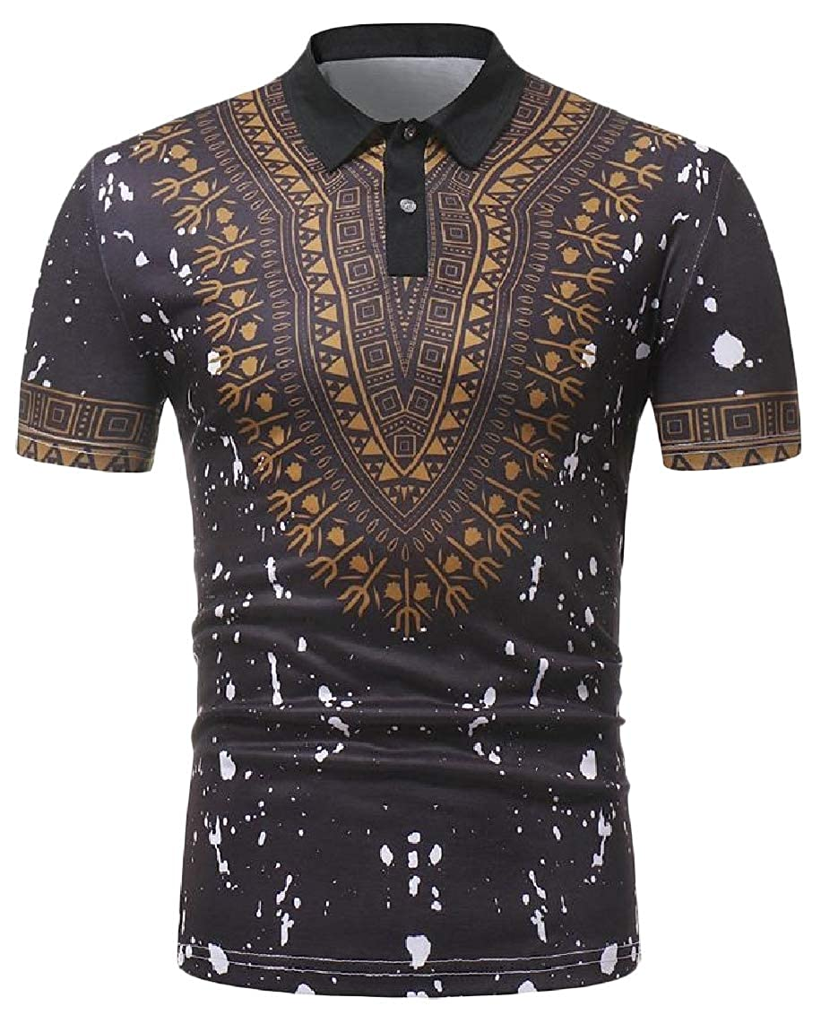 Hajotrawa Men Print Lapel Neck Dashiki Polo-Shirts Ethnic Style Top Tee T-Shirts