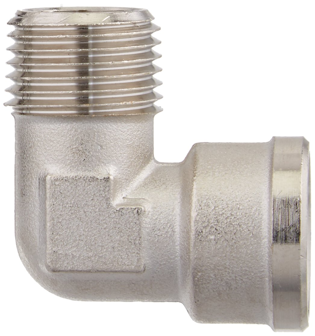 BSPT and BSPP Elbow Male and Female Parker 0913 00 21 Adaptor R1//2 and G1//2 Nickel Plated Brass