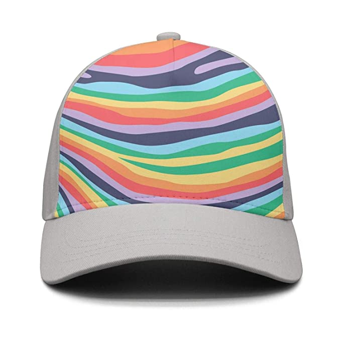Wlpjsjkd Unisex Bright Rainbow Zebra Stripe Funny Baseball Visor Hats 48ca5151751