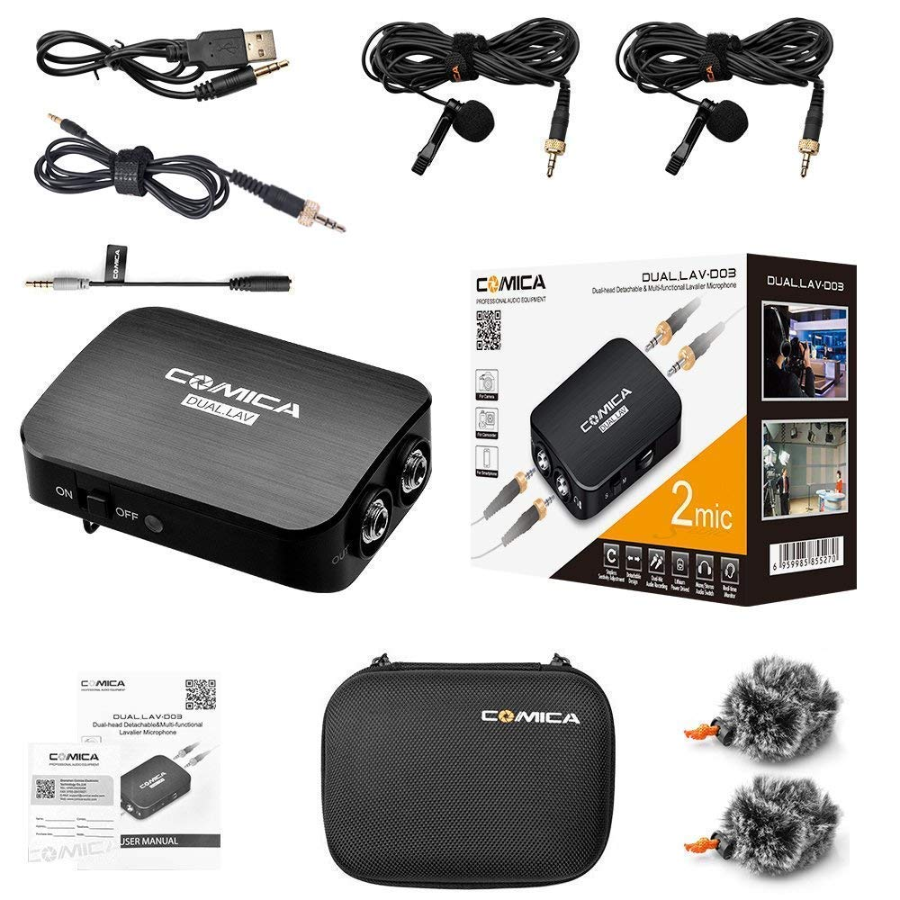 Comica/CVM-D03/STC/Dual/Lavalier/Lapel/Microphone/with/Real-Time/Monitoring,/Volume/Adjustment,/Clip-On/Mic/for/3.5mm///Type-C/USB-C Interface/Smartphone/and/