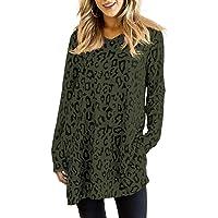 Maysoar Womens Tunic Tops Leopard Print Shirt Long Sleeve Round Neck Blouse