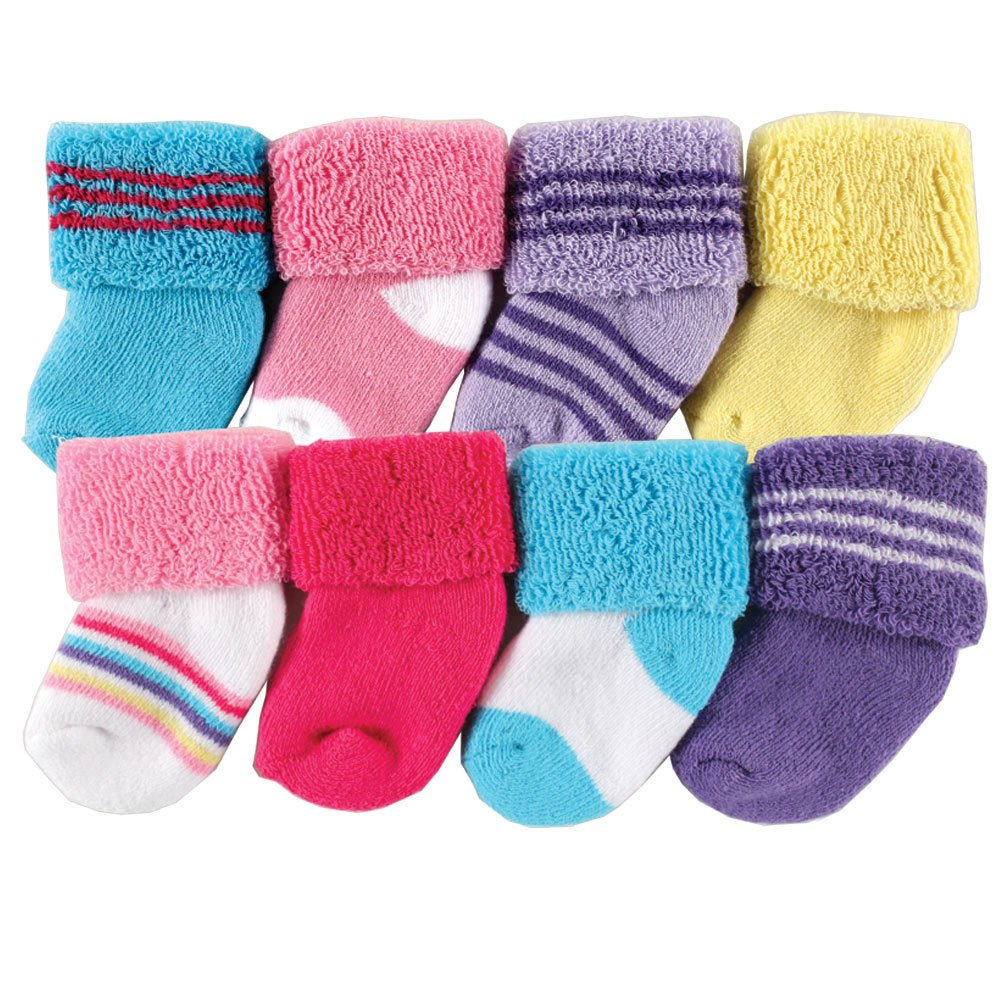 Luvable Friends Unisex Baby Socks, Pink Stripe