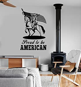 Wall Vinyl Decal US Flag Military Proud to Be American Cavalry Decor and Stick Wall Decals