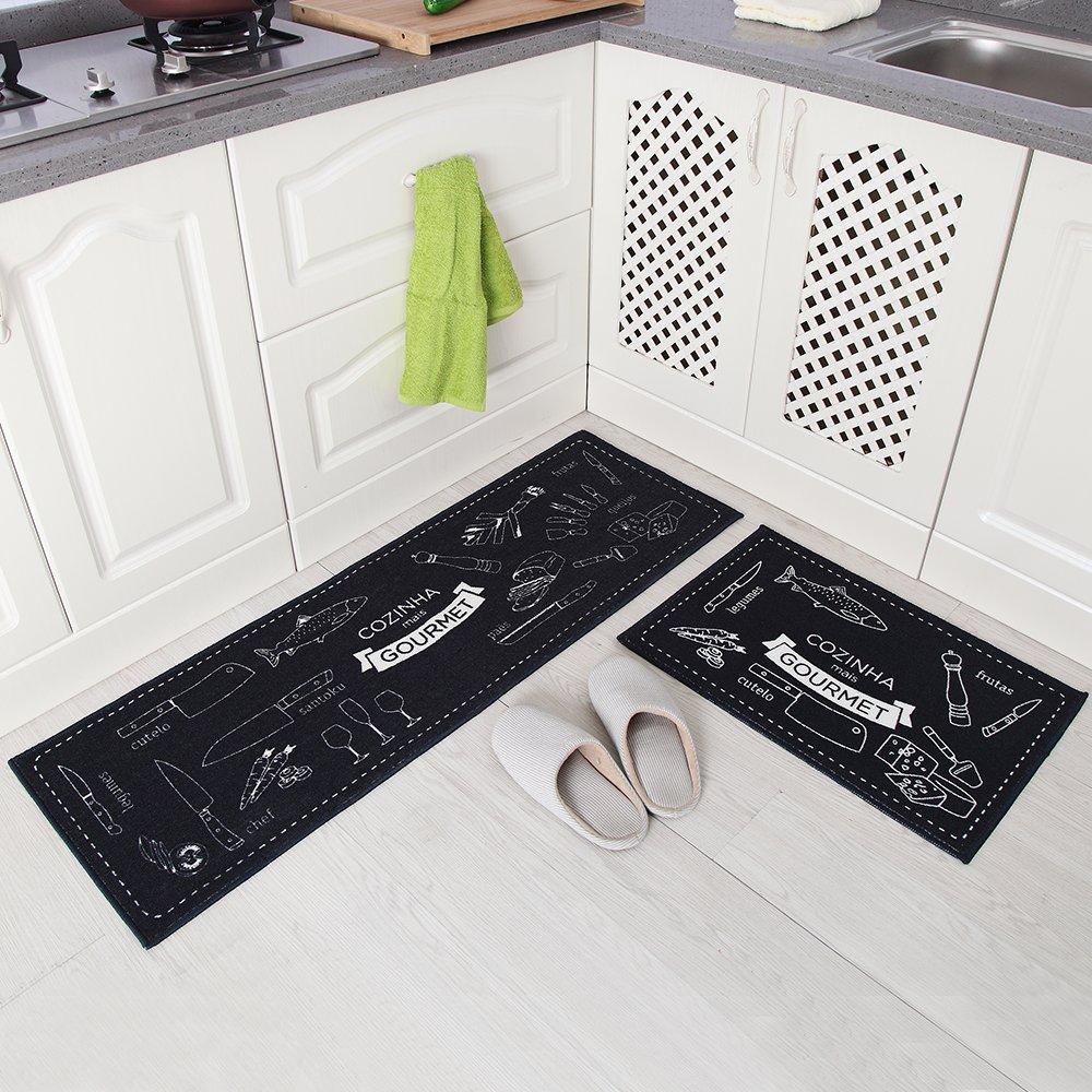 Carvapet 2 Piece Non-Slip Kitchen Mat Rubber Backing Doormat Runner Rug Set, Cozinha Design (Navy Blue 15''x47''+15''x23'')