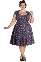 Hell Bunny Plus 50's Cherry Love Sweetheart Blue Flare Party Dress