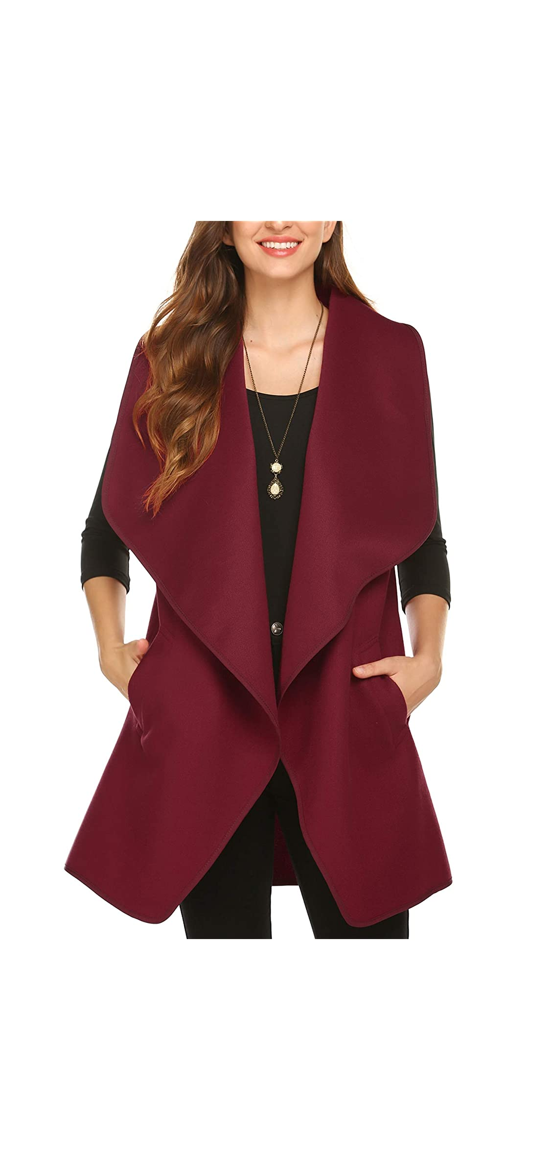 Womens Long Sweater Vests Lapel Open Front Sleeveless