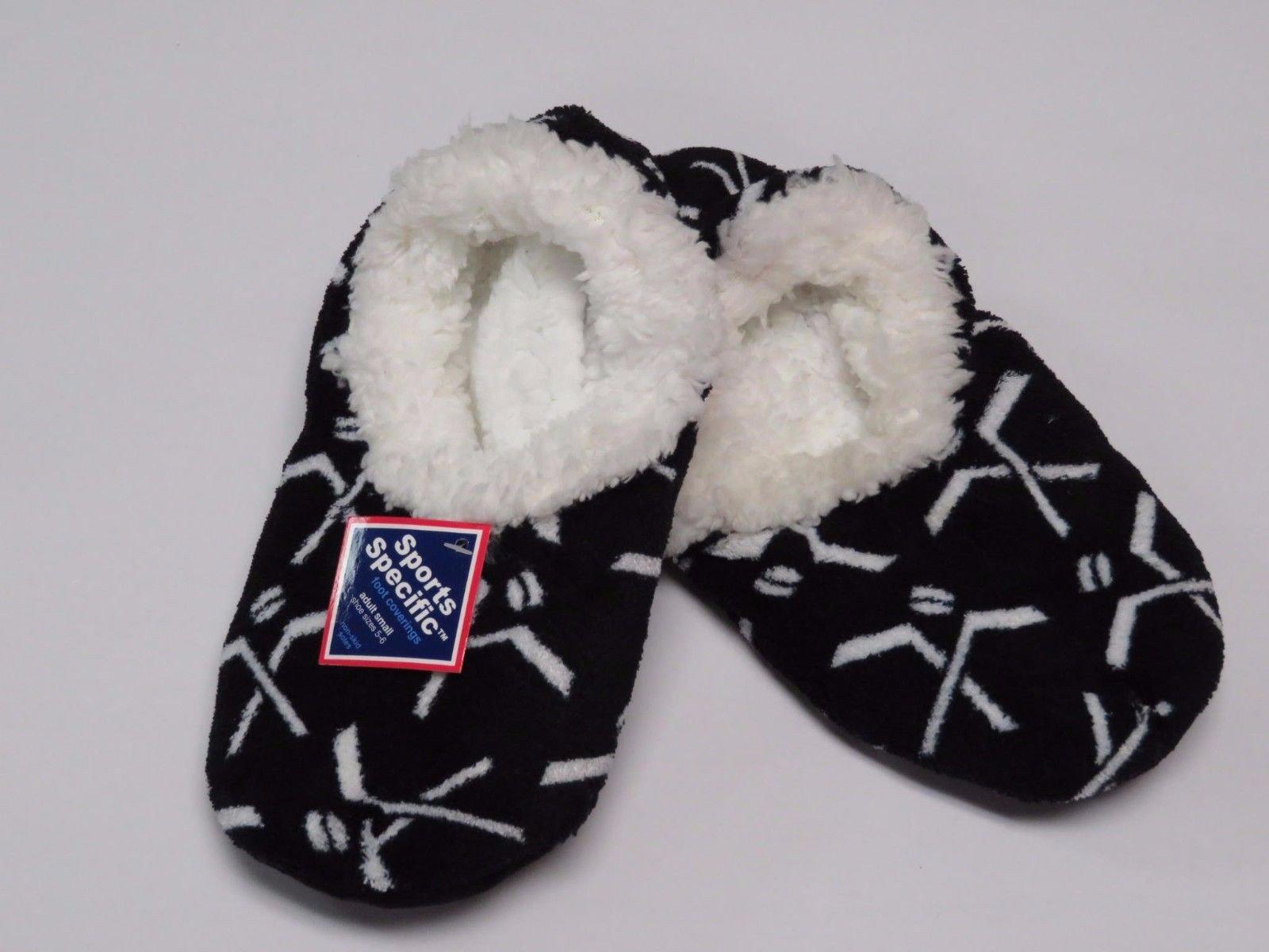 Snoozies Hockey Slippers, Black, Large