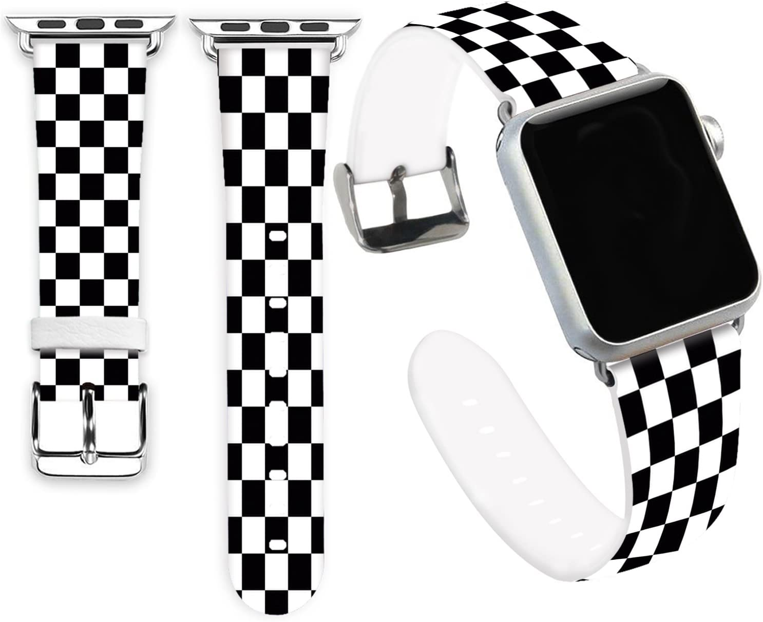 Iwatch Band 38mm,Jolook Soft Leather Sport Style Replacement iWatch Strap for Apple Watch 38mm 40mm Series 6/5/4/3/2/1 - Black and White Grid