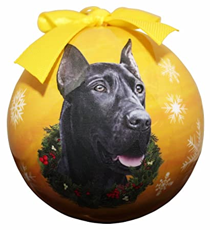 """""""Great Dane Black Christmas Ornament"""" Shatter Proof Ball Easy To  Personalize A Perfect - Amazon.com:"""