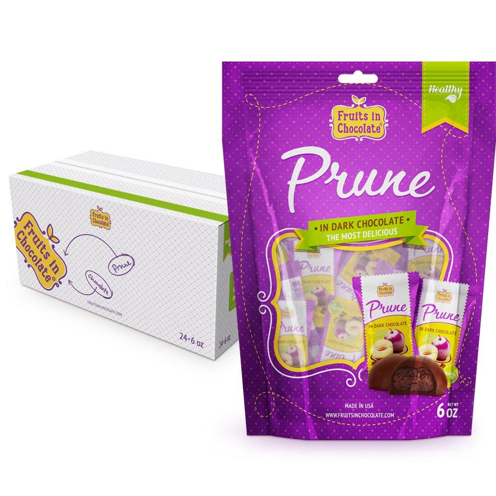 Fruits in Chocolate Dark Chocolate Covered Prunes, 6 Oz Bag (Pack of 24)