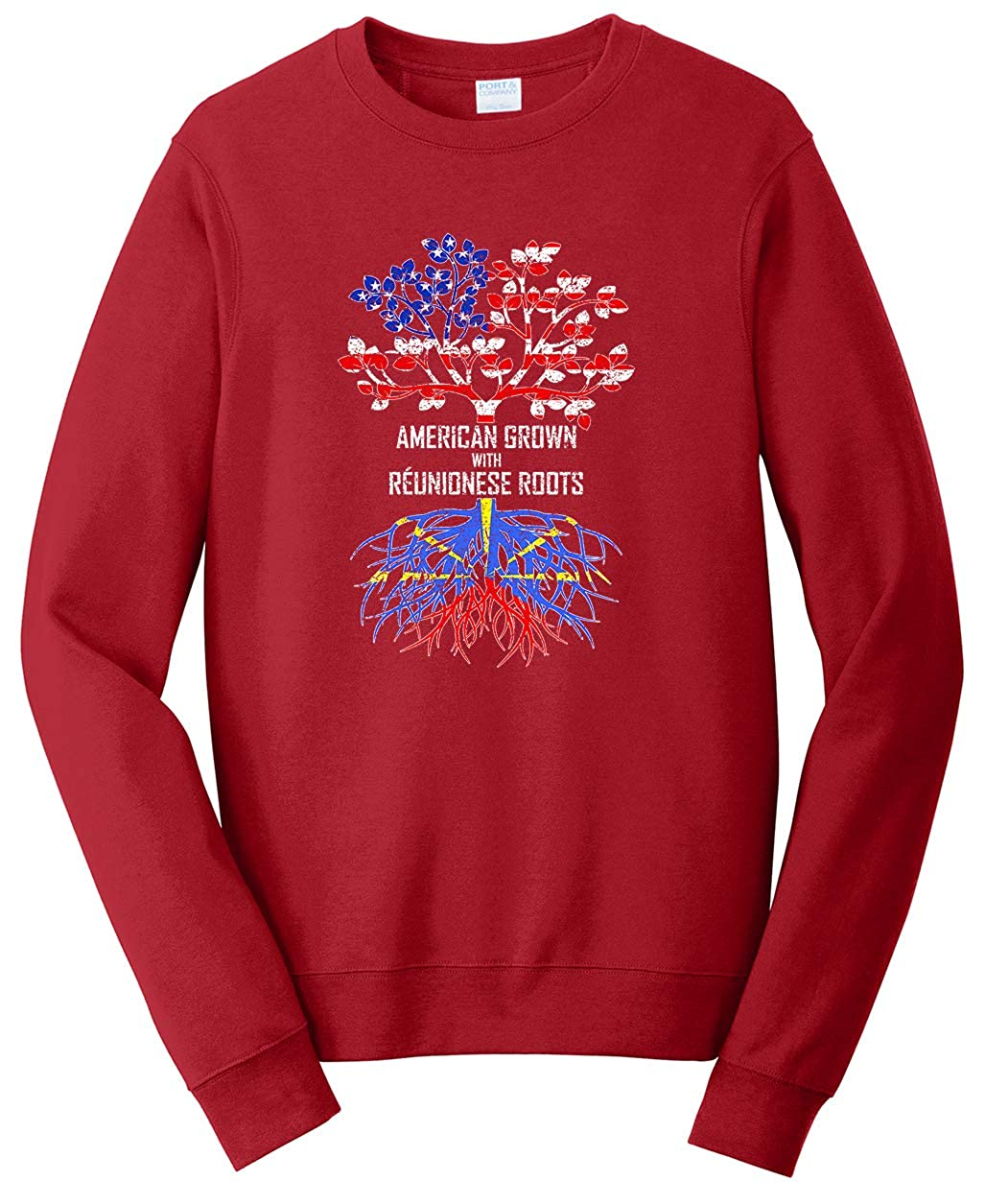 Tenacitee Unisex American Grown with R/éunionese Roots Sweatshirt