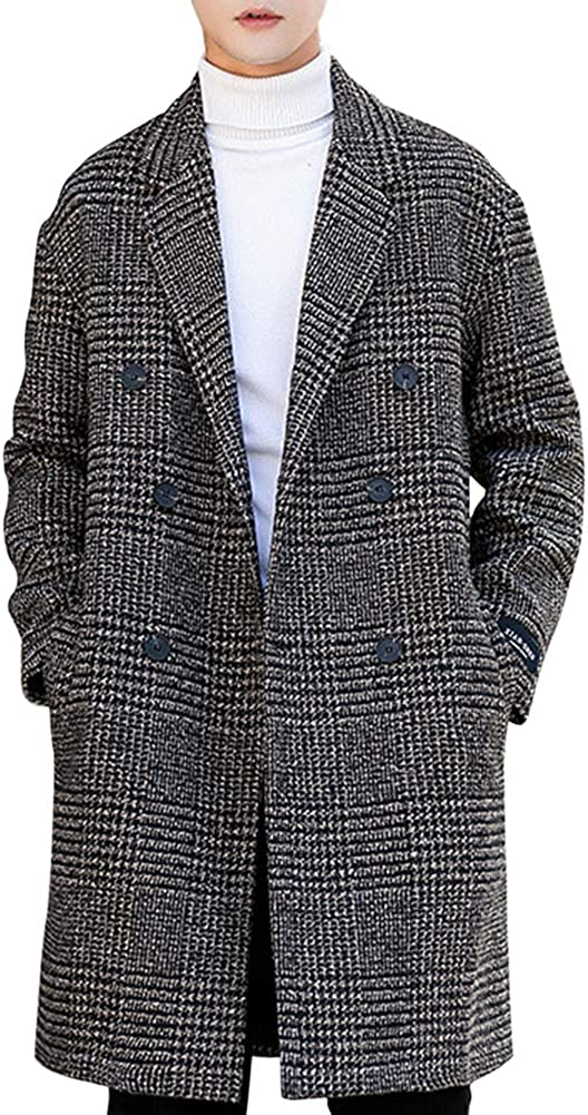 GloryA Men Windbeaker Double-Breasted Classic-fit Outerwear Trenchcoats