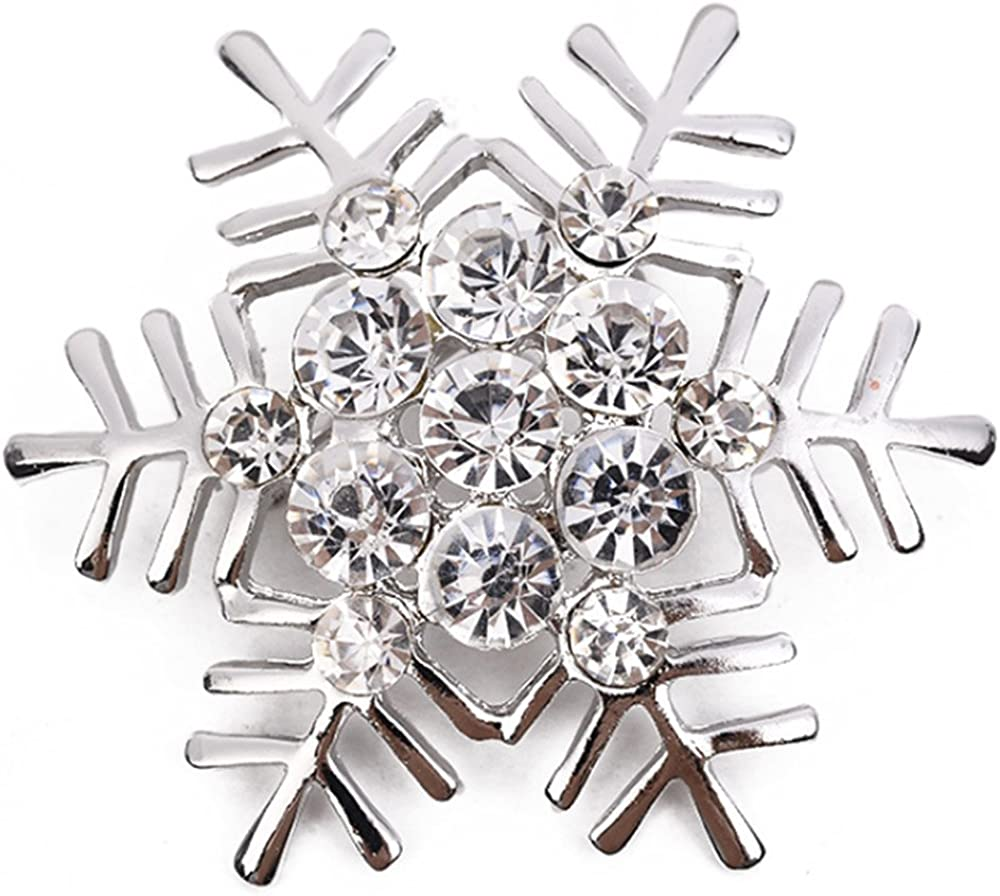 Snowflake Brooch Pin Style Delicate Rhinestone Silver Tone Plated Banquet Cocktail Lover Gift