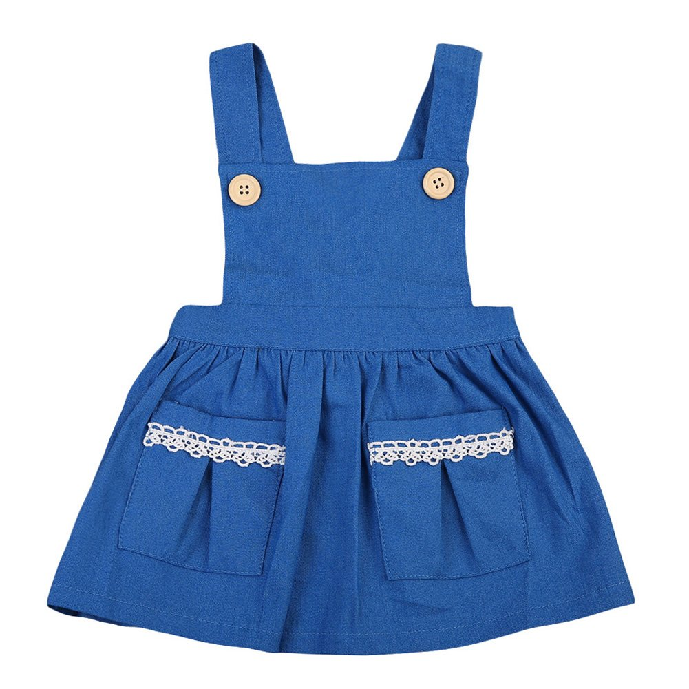 Baby Girls Summer Denim Dress Overall Buttons Suspender Pleated Skirt with Pockets