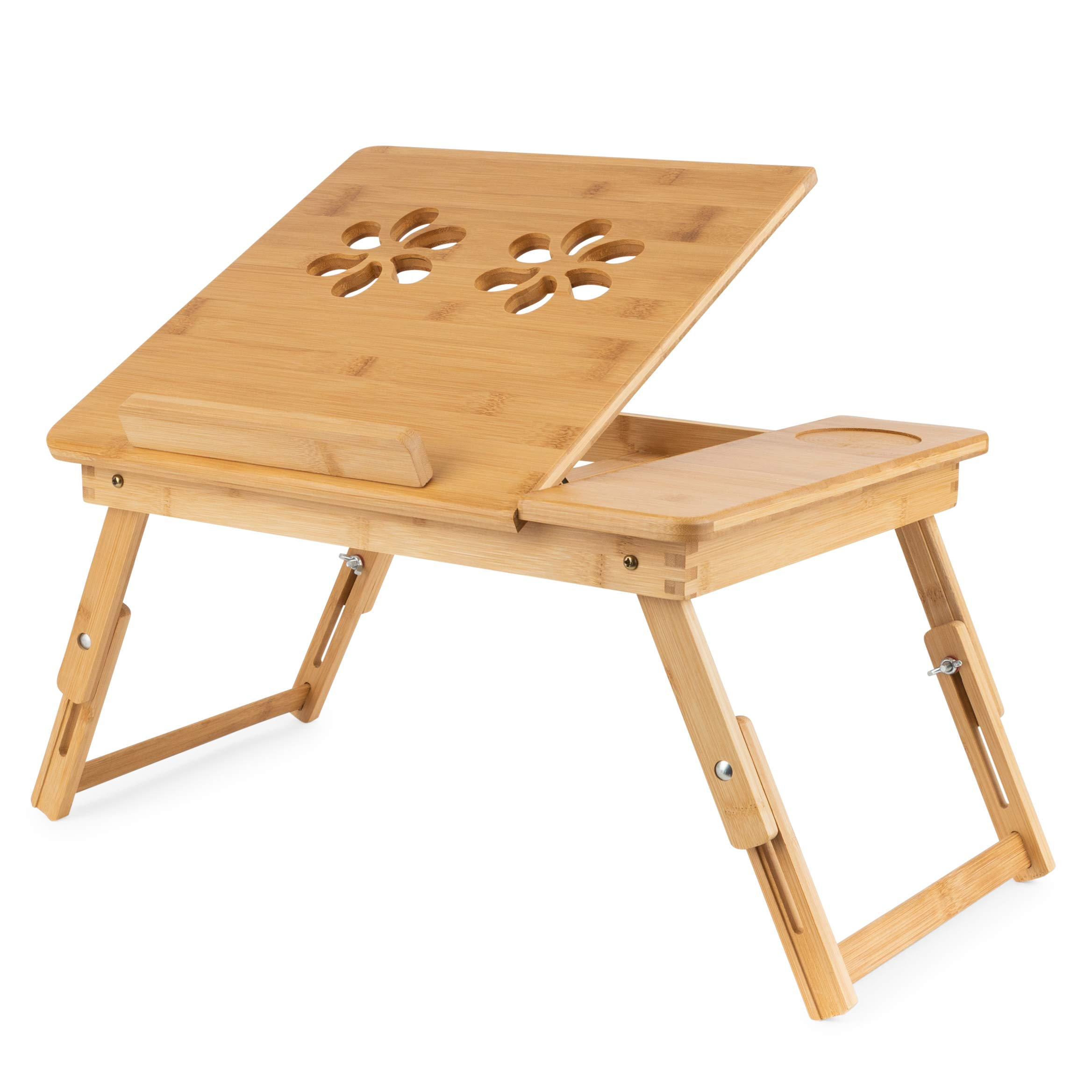 Olivia & Aiden Bed Tray Table and Laptop Desk (Bamboo) Tilting Surface for Reading, Tablets, Serving, and Eating Food | Adjustable Legs | Kids, Adults