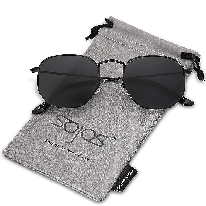 SOJOS Clásico Polígono Espejo Lentes UV Portección Unisex Gafas de Sol Polarizado SJ1072 Marco Negro/Lente Gris: Amazon.es: Ropa y accesorios