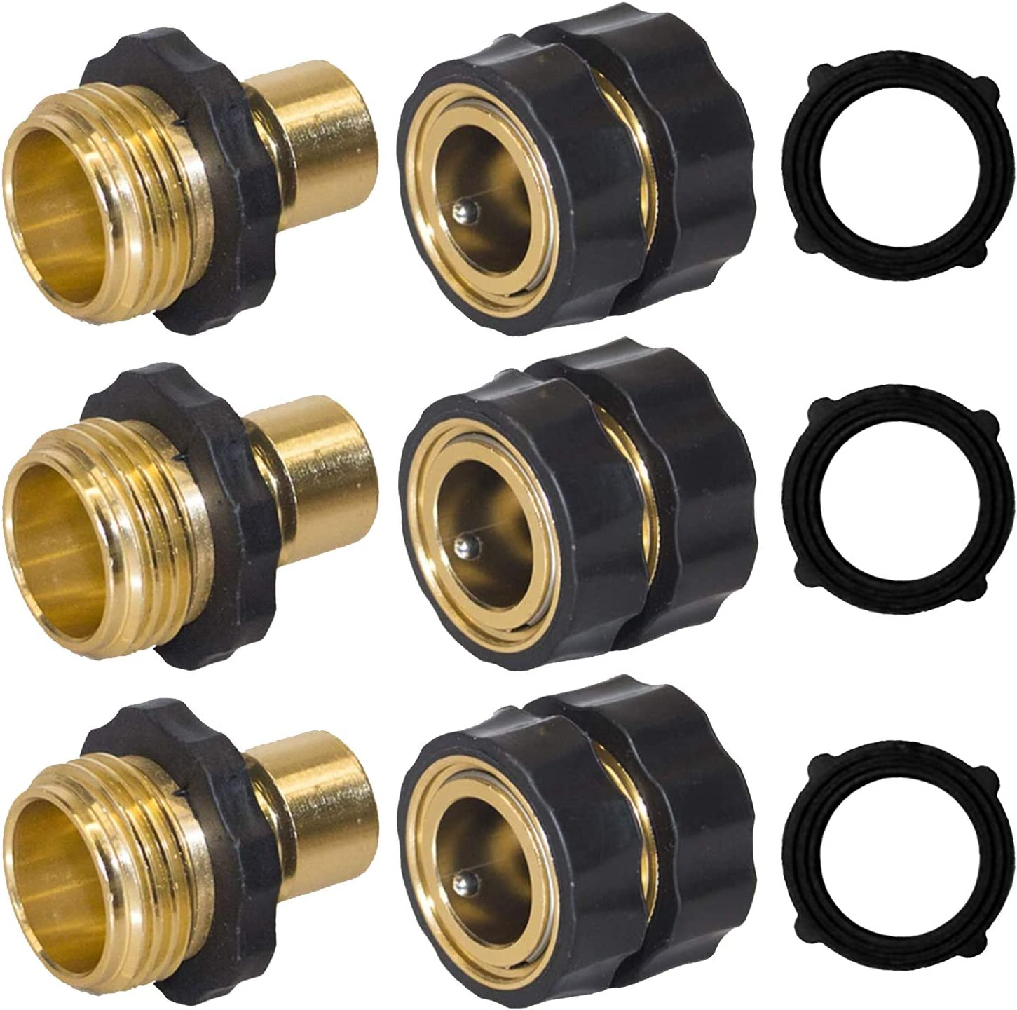 Hourleey Garden Hose Quick Connector, 3/4 Inch Male and Female Garden Hose Fitting Quick Connector, 3 Set