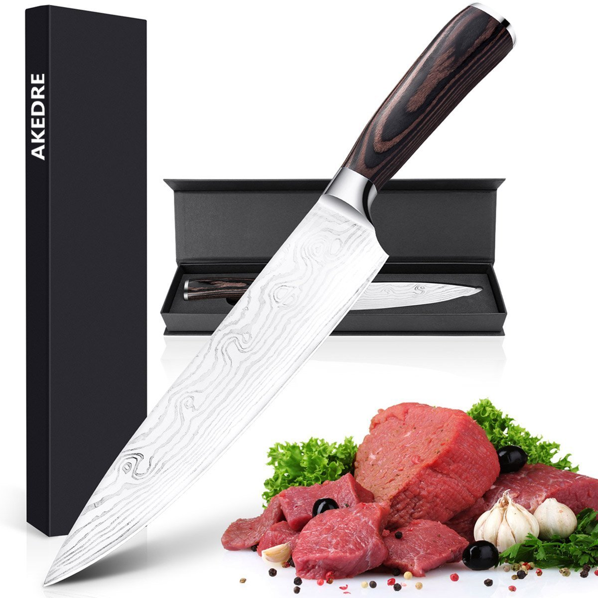 Wewdigi Chef Kitchen Knife with Stainless Steel Razor Sharp Blade and Ergonomic Handle with pattern (6X18)