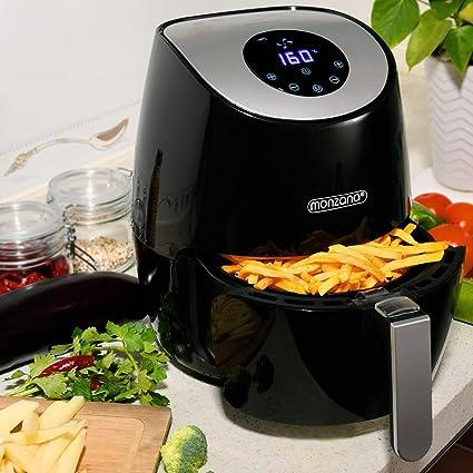 Monzana 9en1 Freídora sin aceite por aire caliente Negra 1485V 3,6 L pantalla digital con temporizador 80-200°C sin BPA: Amazon.es: Hogar