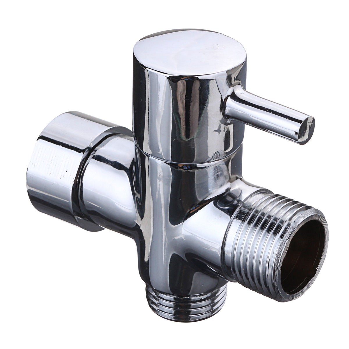 AboutBathroom Chromed Brass G7/8 G1/2 T-adapter for Bidet and Shattaf with Shut off valve