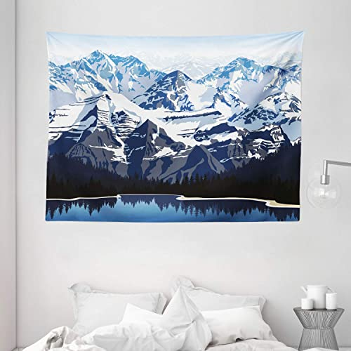 Ambesonne Scenery Tapestry, Cartoon Like Mountain with Snow Landscape with Lake Reflection Art, Wide Wall Hanging for Bedroom Living Room Dorm, 80 X 60 , Blue Grey