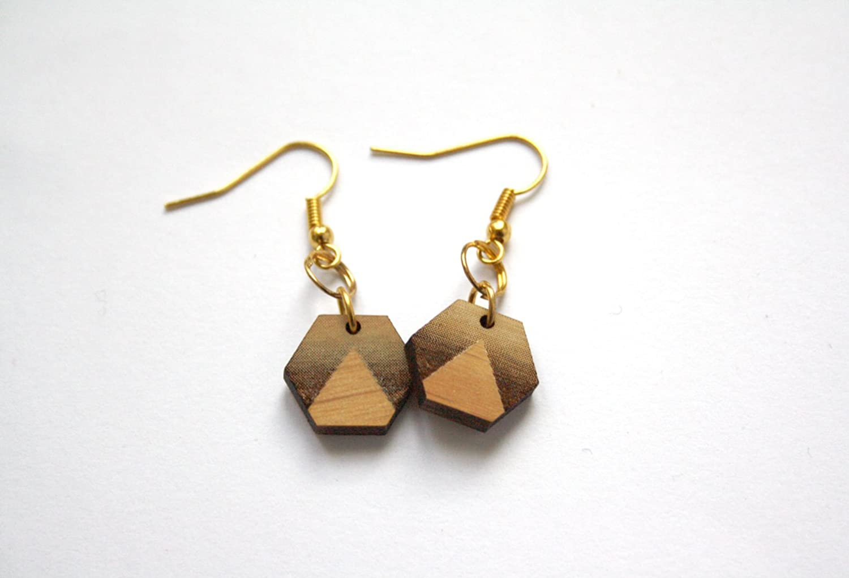 triangle pattern wood jewel Geometric earrings hexagon shape minimal modern unique original gift made in France Paris art deco style