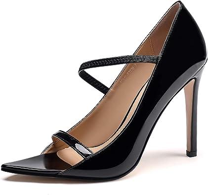 Summer women/'s high stilettos heels slip on sticky leather pointy open toe shoes